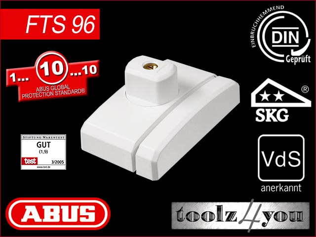 abus fenster zusatzschloss fts96 fts 96 wei ebay. Black Bedroom Furniture Sets. Home Design Ideas